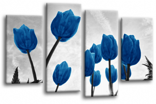 Floral Flowers Canvas Wall Art Picture Tulip Print Blue White